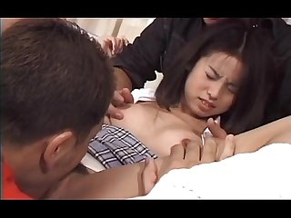 Jap tiny wet snatch vibed and fingered by two guys in close up