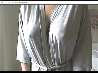 Lactating big tits with dark nipples on webcam - part 1 of 3