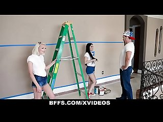 Bffs three besties suck cock instead of paying the handyman