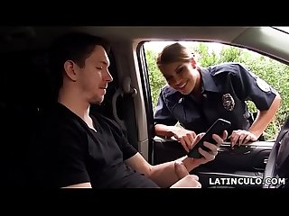 Latina officer caught on a guy jerking off in his car excl mercedes carrera
