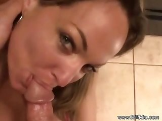 MILF Blows Kitchen Cum