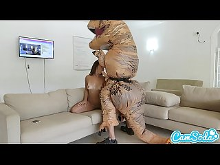 Big ass latina teen chased by lesbian loving trex on a hoverboard then fucked