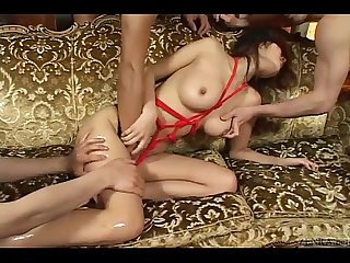 Uncensored blindfolded and bound Japanese lotion play