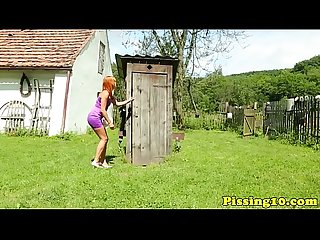 Ginger eurobabe pissing on a peeping tom