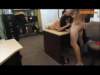Latina slut sells her old tv and stuffed at the pawnshop