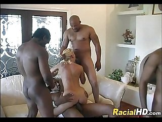 1 blonde vs 4 black guys Hot Gangbang
