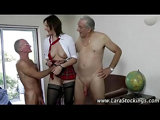 Stockinged mature hottie screwed hard by cocks