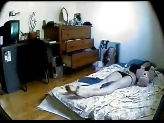 Great masturbation of my sister on bed hidden cam