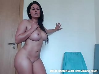 Curvy tattooed step mother teasing my dad on cam