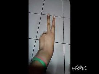 Girl in towel fingering pussy
