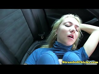 Hitchhiking blonde gets internal creampie
