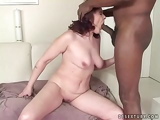 Big black meat in an old pussy