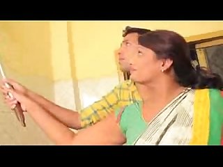 Young boy caught Desi Aunty in kitchen low