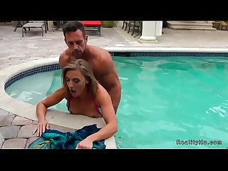 Milf fucks neighbor in the pool