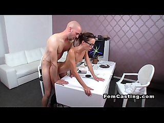 Slim oiled female agent banged from behind