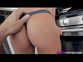 Hot blonde step sister fucked in kitchen