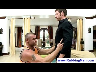 Gay masseur gets his client excited