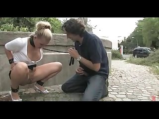 Blonde with perky tits fucked outdoor