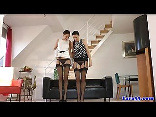 Posh british mature pussyrubbing in stockings