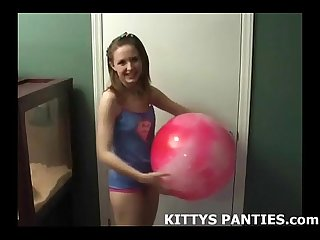 Cute teen football girl kitty wants to play