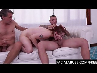 Sloppy redhead face fucked very hard