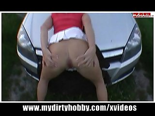 Blonde german bitch gets fucked on car hood