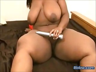Black BBW Masturbates Uses a Toy on Her Pussy - 8bbw.com