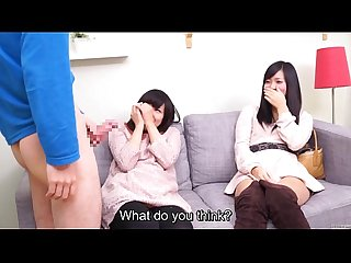 Subtitled cfnm japanese friend watches surprise blowjob