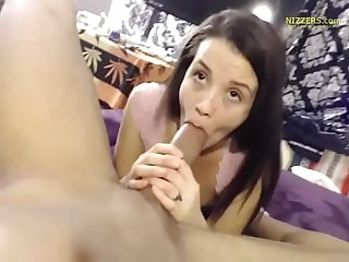 Beautiful petite daughter amanda blowing big cock rough