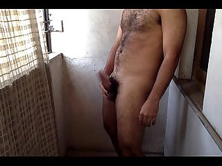 Horny indian guy masturbating outdoor in balcony semi rpar