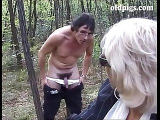 Mature blonde caught pissing in A wood and fucked