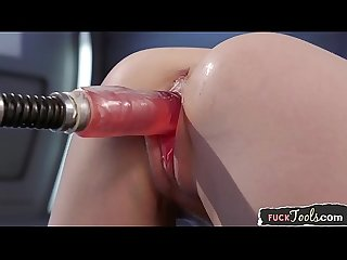 Machine fucked glam beauty bends over