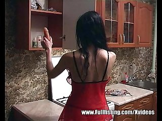Skinny teen in a kitchen pussy self fisting