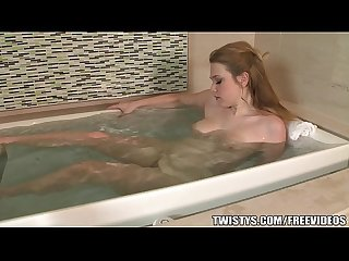 Alaina fox plays with her perfect pink pussy in the bath