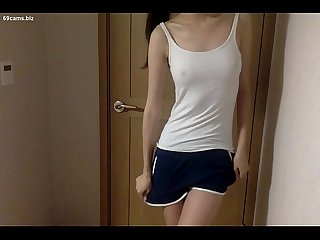 Skinny Korean teen with hot pants