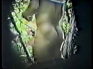 His first fucking condom spycam in woods