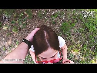 Awesome Teen with Big Ass Makes Sloppy Blowjob and Gets Covered in Park - Rosie Skye