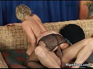 Sexy blonde mature teacher is hot as she