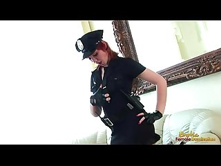 Hot redhead in officers uniform masturbates madly