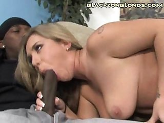 White bitch sucking dark cock