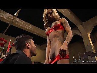 Toned big tits tranny fucks dude