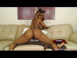 Naughty busty 34 gg s ebony nyla storm bouncing her big booty on webcam