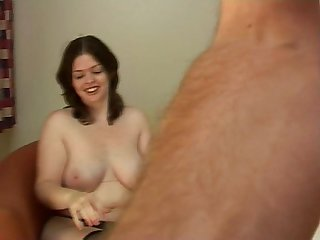 Beautiful chubby brunette jerks off her man