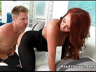 Sexy redhead milf gets her pussy eaten out by her boyfriend