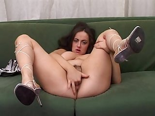 Amateur girl with big tits jerks off her pussy