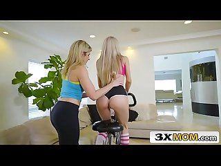 Horny Cougar vs Cute Teen Lesbian Yoga Session - Cory Chase, Molly Mae