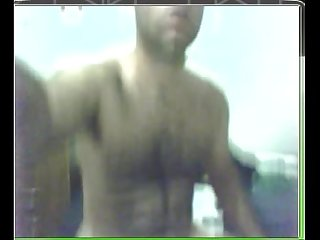 Hairy man in webcam