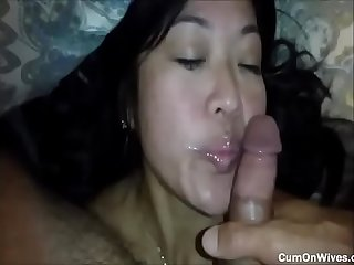 Slutty asian wife giving a rimjob and being mouth fucked