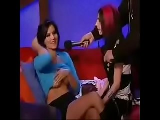 Sunny leone on a late night tv show period period Boobs exposed