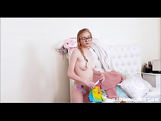 Cute young nerdy tiny teen stepdaughter fucked by creepy stepdad pov
